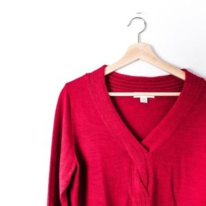 Coldwater Creek Soft V-Neck Red Sweater